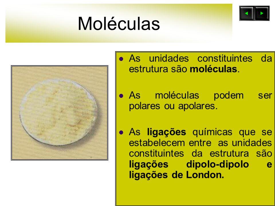 Moléculas As unidades constituintes da estrutura são moléculas.