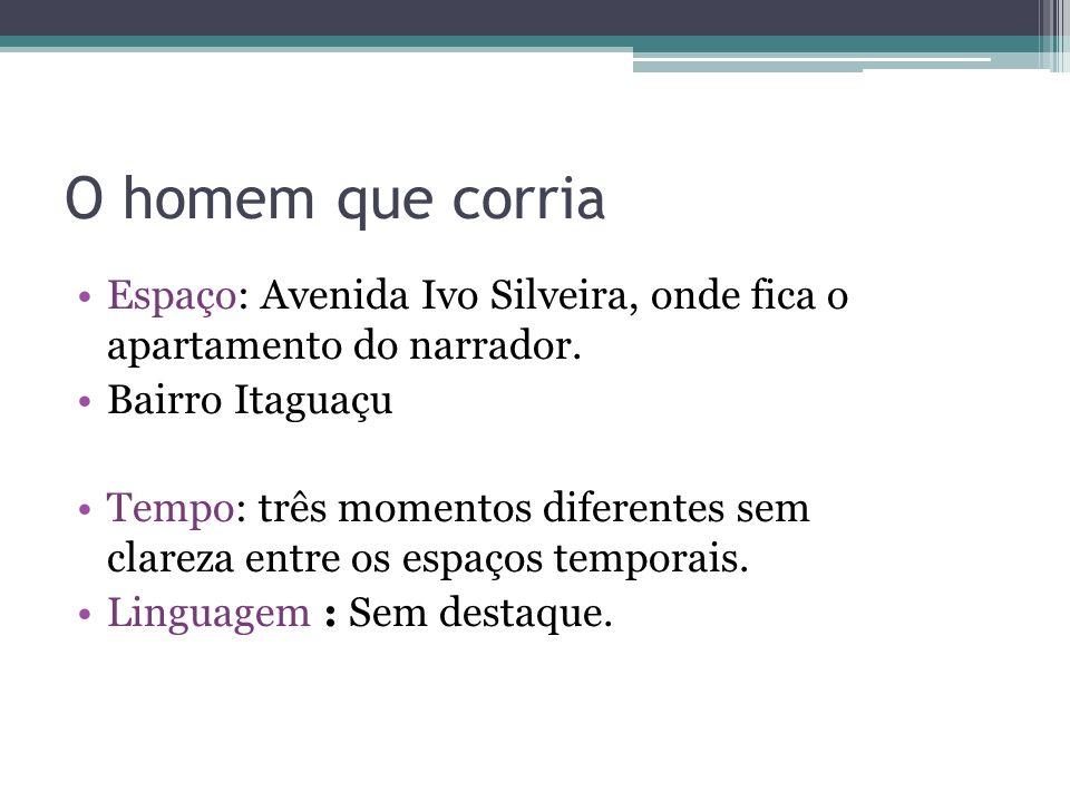 O homem que corria Espaço: Avenida Ivo Silveira, onde fica o apartamento do narrador. Bairro Itaguaçu.