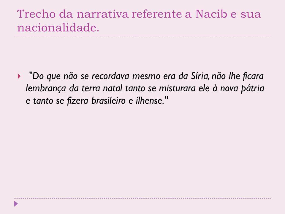 Trecho da narrativa referente a Nacib e sua nacionalidade.