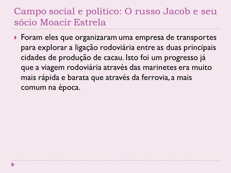 Campo social e político: O russo Jacob e seu sócio Moacir Estrela