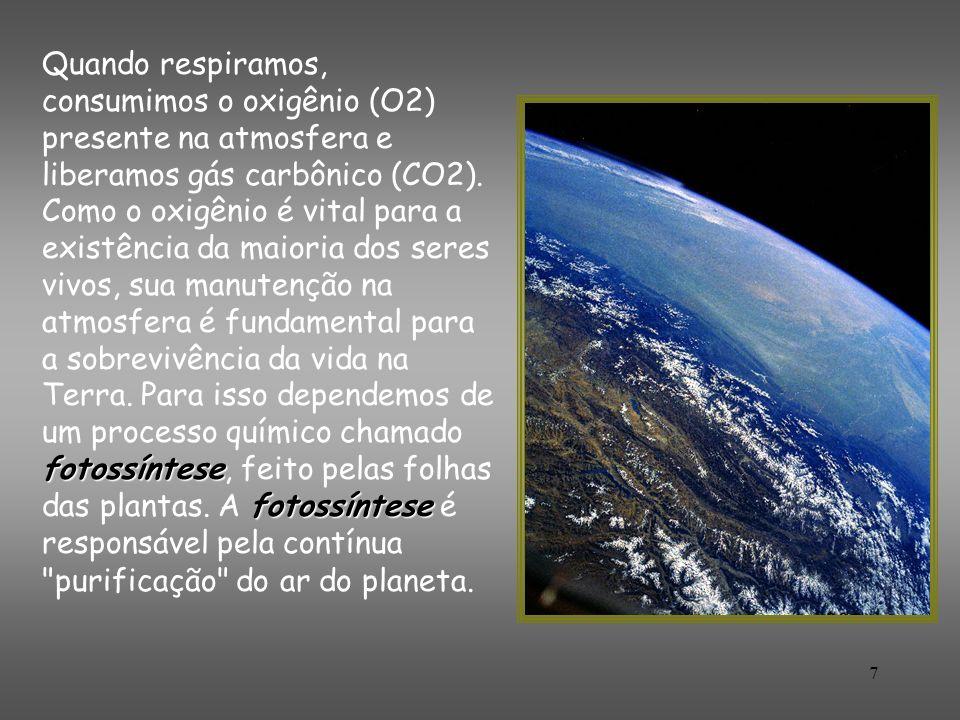 Quando respiramos, consumimos o oxigênio (O2) presente na atmosfera e liberamos gás carbônico (CO2).