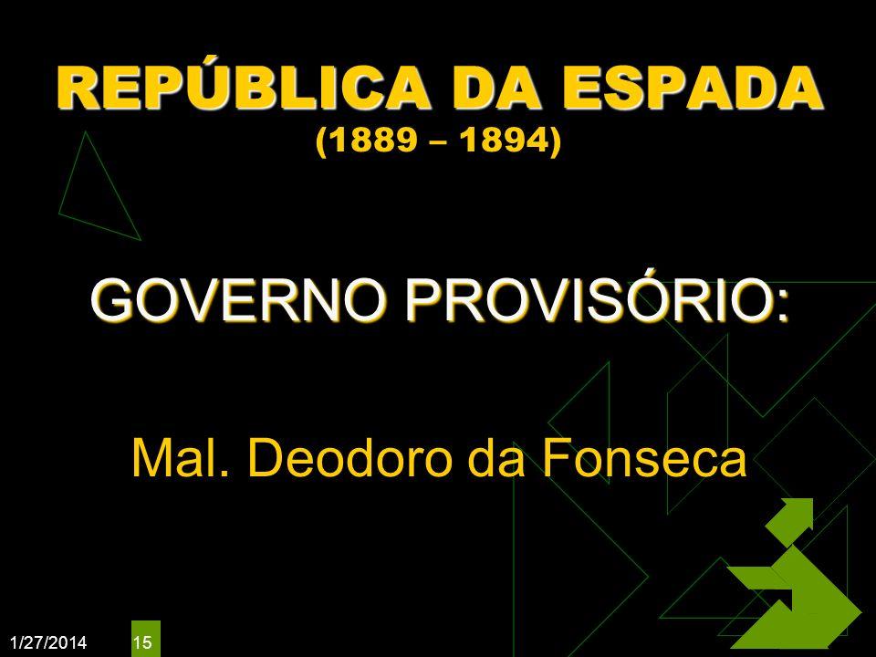 REPÚBLICA DA ESPADA (1889 – 1894)