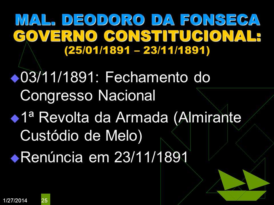 03/11/1891: Fechamento do Congresso Nacional