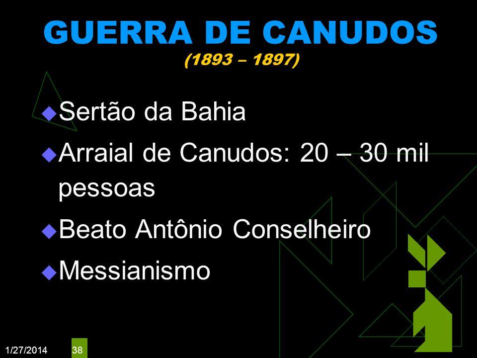 GUERRA DE CANUDOS (1893 – 1897) Sertão da Bahia