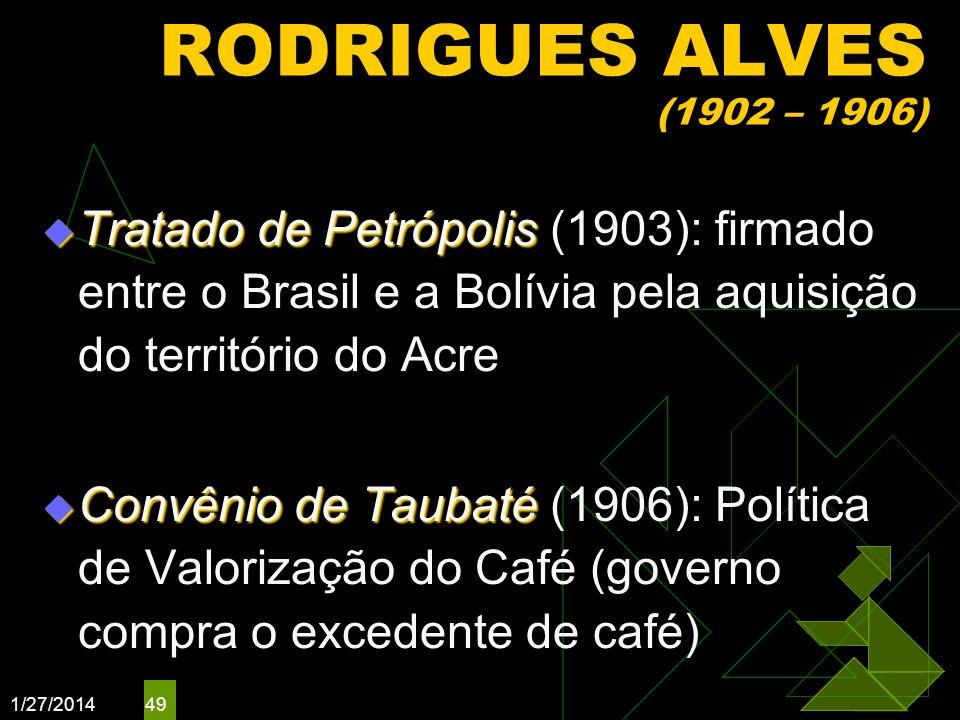 RODRIGUES ALVES (1902 – 1906)Tratado de Petrópolis (1903): firmado entre o Brasil e a Bolívia pela aquisição do território do Acre.