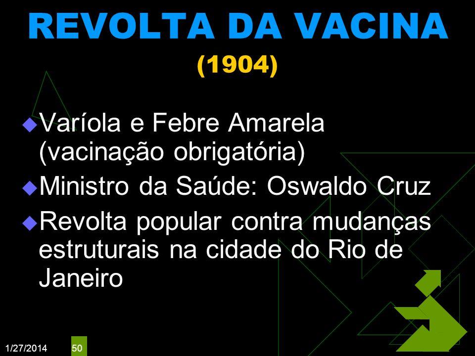 REVOLTA DA VACINA (1904)Varíola e Febre Amarela (vacinação obrigatória) Ministro da Saúde: Oswaldo Cruz.