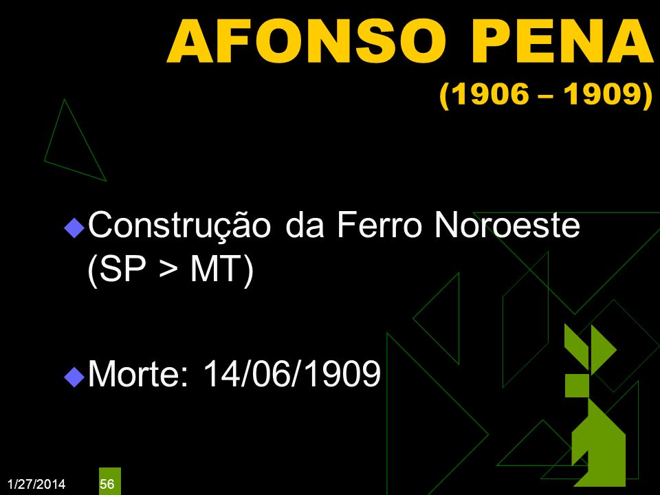 AFONSO PENA (1906 – 1909) Construção da Ferro Noroeste (SP > MT)