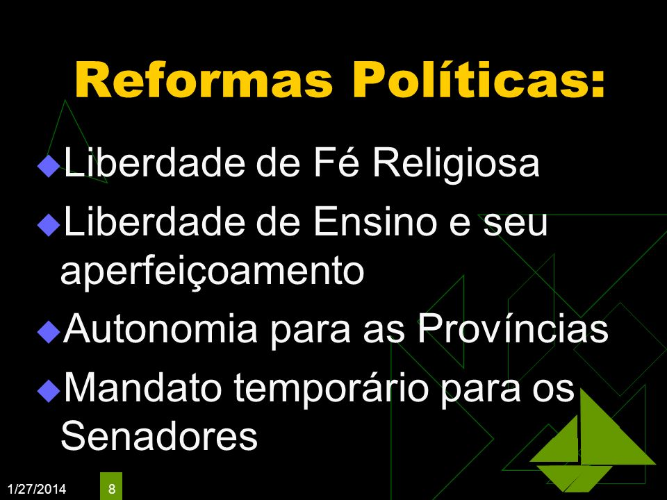 Reformas Políticas: Liberdade de Fé Religiosa