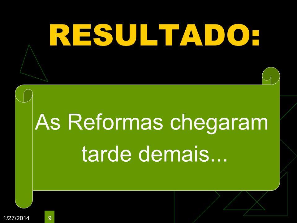 RESULTADO: As Reformas chegaram tarde demais... 3/25/2017