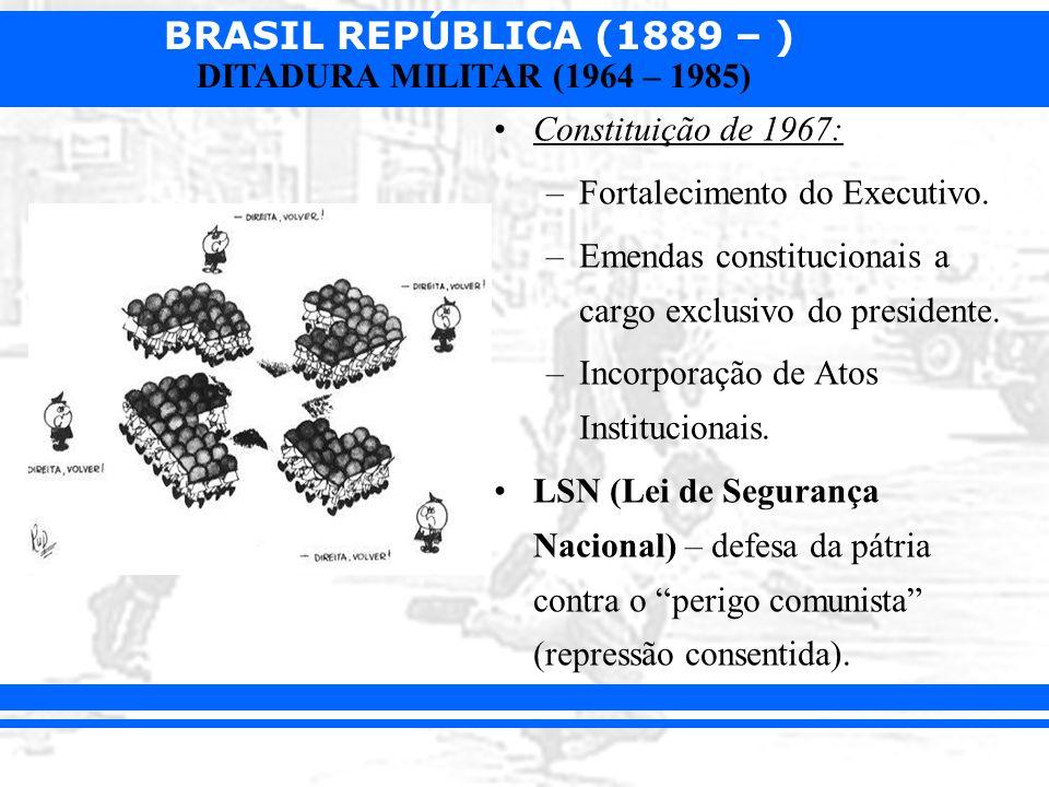 Constituição de 1967: Fortalecimento do Executivo. Emendas constitucionais a cargo exclusivo do presidente.