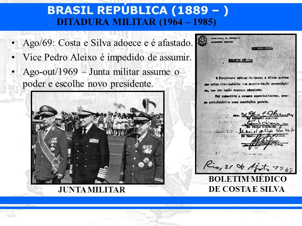 Ago/69: Costa e Silva adoece e é afastado.