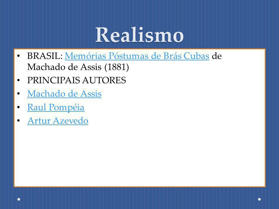 Realismo BRASIL: Memórias Póstumas de Brás Cubas de Machado de Assis (1881) PRINCIPAIS AUTORES. Machado de Assis.