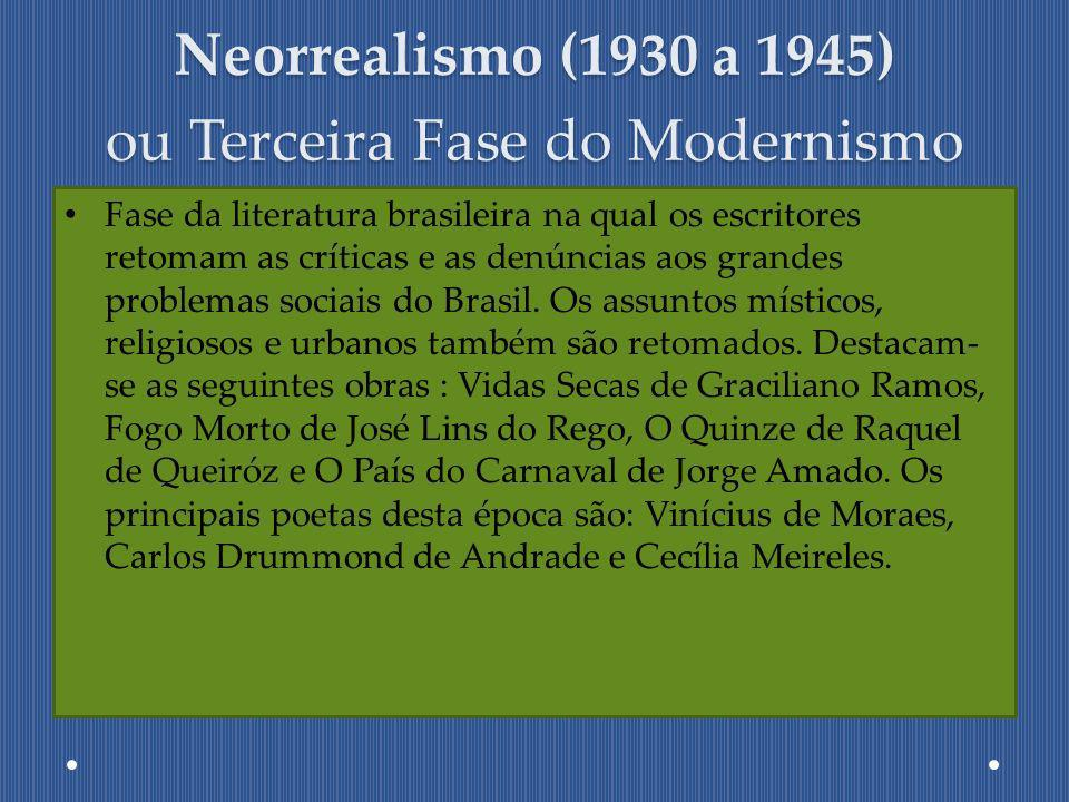 Neorrealismo (1930 a 1945) ou Terceira Fase do Modernismo