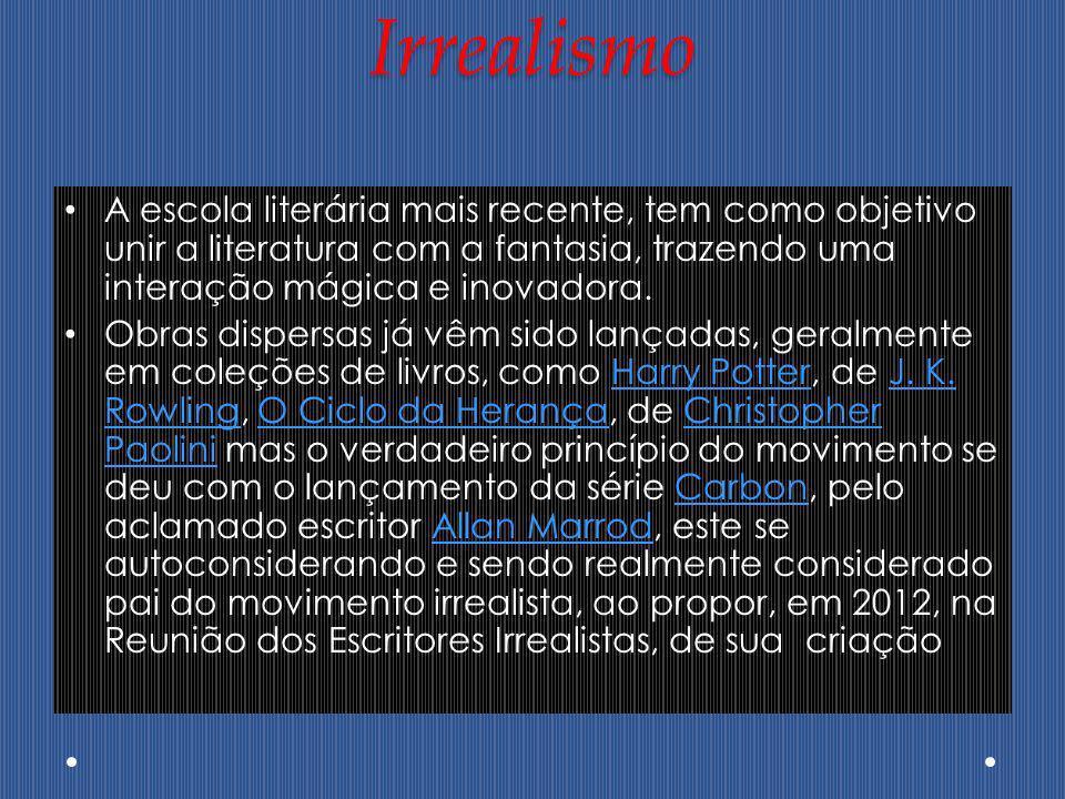 Irrealismo A escola literária mais recente, tem como objetivo unir a literatura com a fantasia, trazendo uma interação mágica e inovadora.