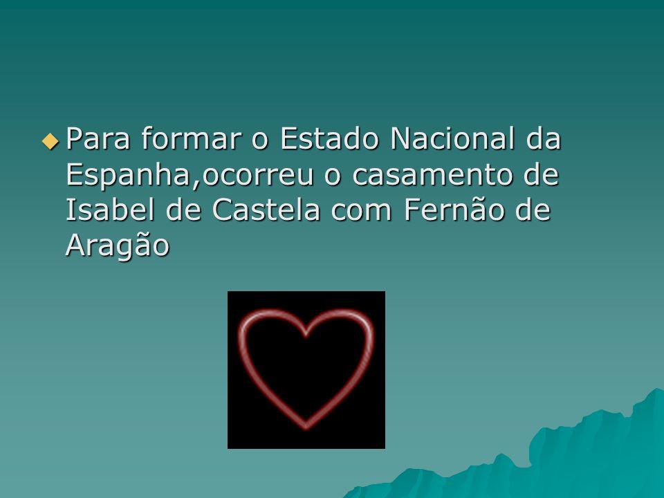 Para formar o Estado Nacional da Espanha,ocorreu o casamento de Isabel de Castela com Fernão de Aragão