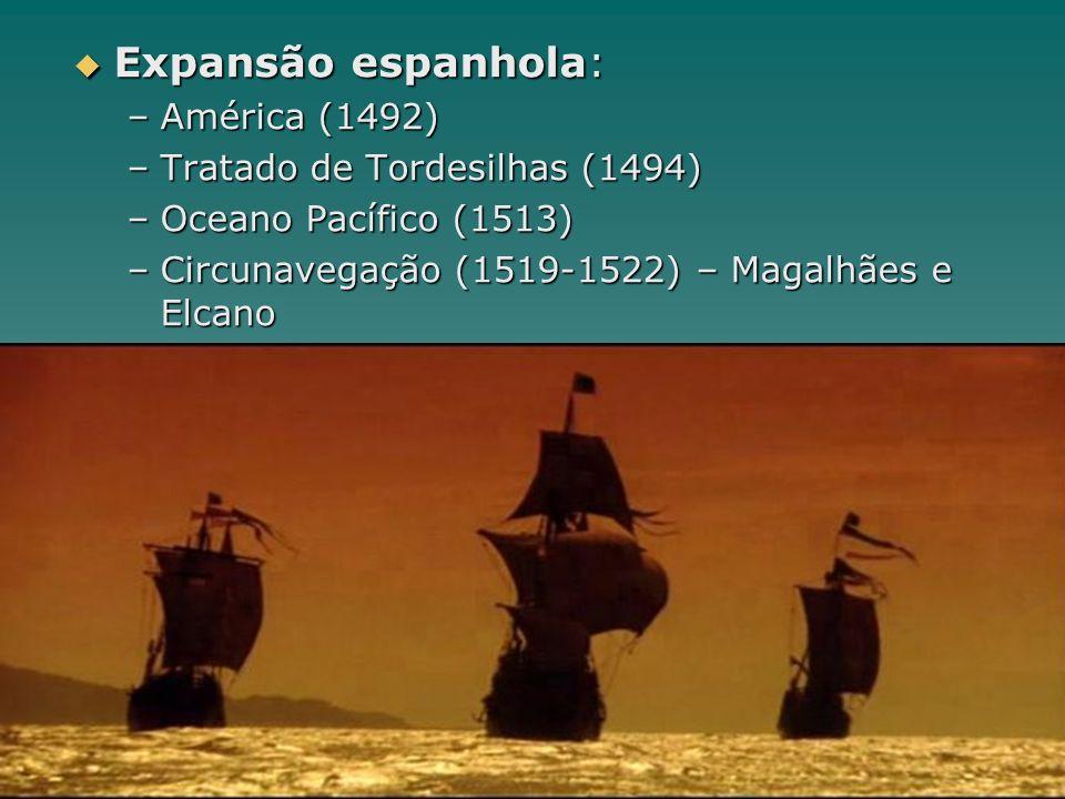 Expansão espanhola: América (1492) Tratado de Tordesilhas (1494)