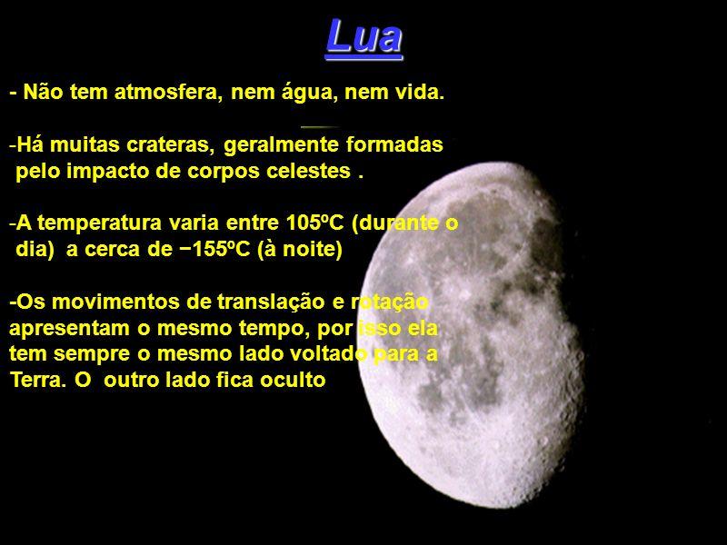 Lua - Não tem atmosfera, nem água, nem vida.