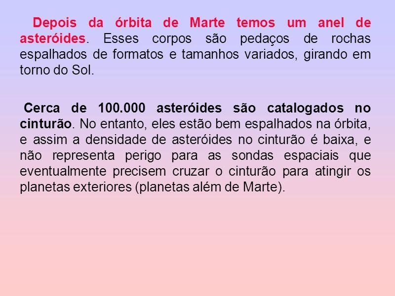 Depois da órbita de Marte temos um anel de asteróides