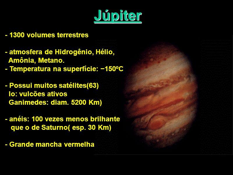 Júpiter - 1300 volumes terrestres - atmosfera de Hidrogênio, Hélio,