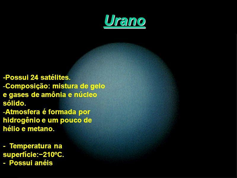 Urano -Possui 24 satélites. Composição: mistura de gelo
