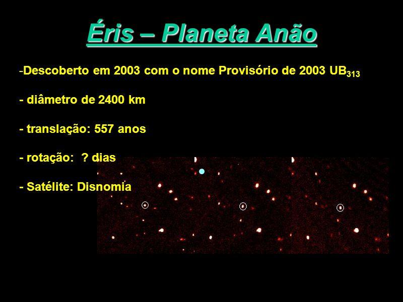 Éris – Planeta AnãoDescoberto em 2003 com o nome Provisório de 2003 UB313. - diâmetro de 2400 km. - translação: 557 anos.