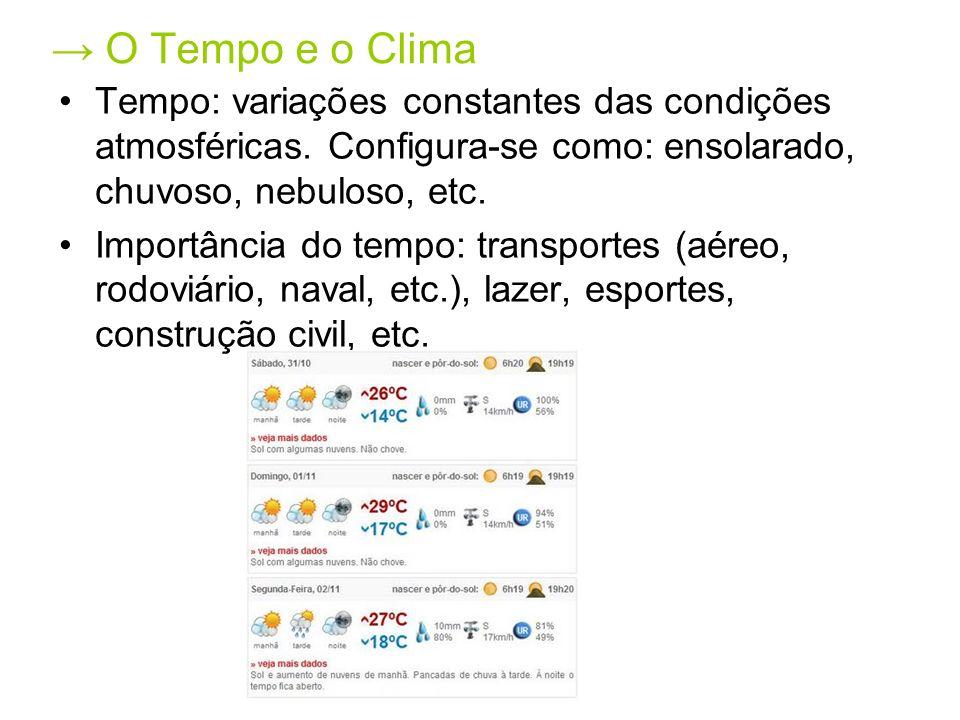 → O Tempo e o Clima Tempo: variações constantes das condições atmosféricas. Configura-se como: ensolarado, chuvoso, nebuloso, etc.