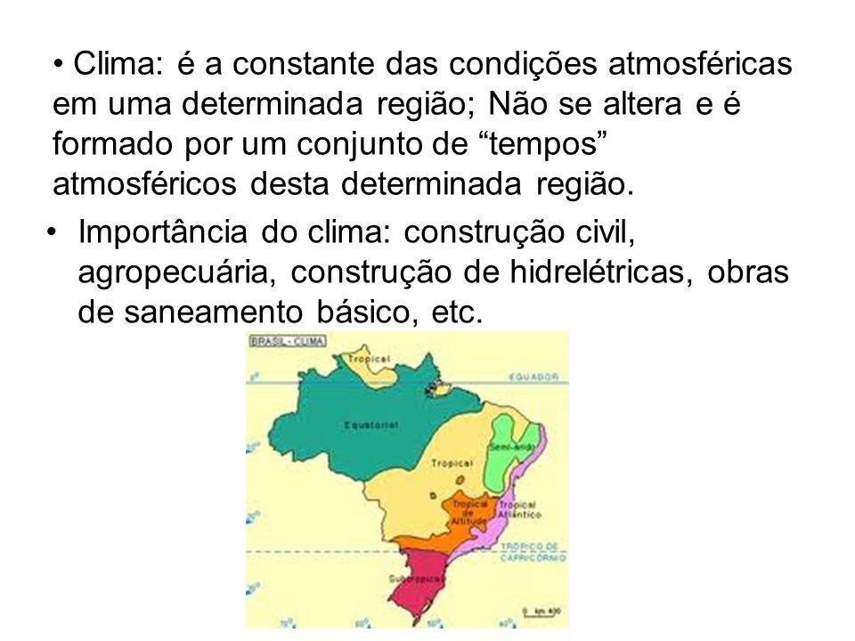 Clima: é a constante das condições atmosféricas em uma determinada região; Não se altera e é formado por um conjunto de tempos atmosféricos desta determinada região.