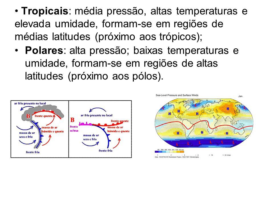 Tropicais: média pressão, altas temperaturas e elevada umidade, formam-se em regiões de médias latitudes (próximo aos trópicos);