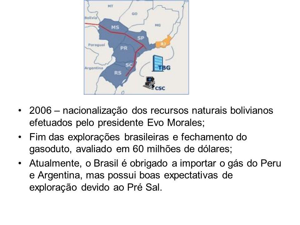2006 – nacionalização dos recursos naturais bolivianos efetuados pelo presidente Evo Morales;