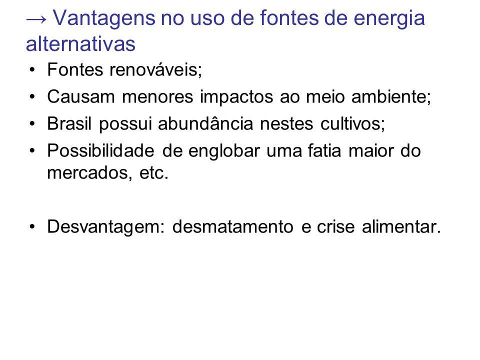 → Vantagens no uso de fontes de energia alternativas