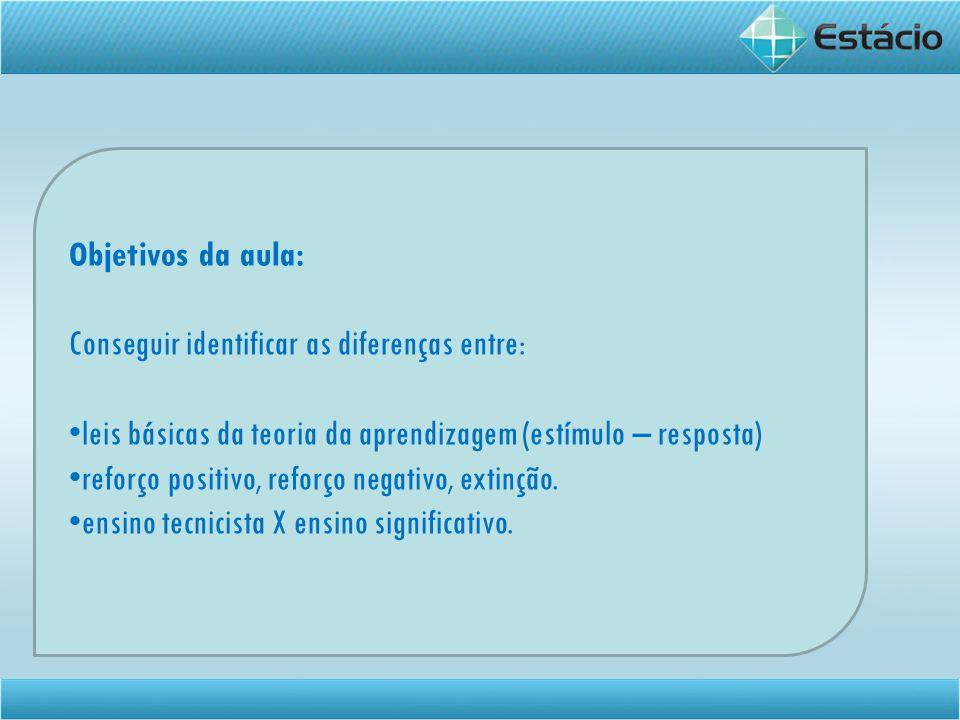 Objetivos da aula: Conseguir identificar as diferenças entre: leis básicas da teoria da aprendizagem (estímulo – resposta)