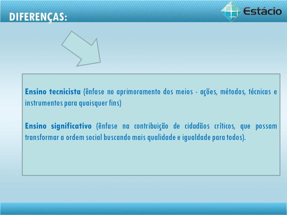 DIFERENÇAS: Ensino tecnicista (ênfase no aprimoramento dos meios - ações, métodos, técnicas e instrumentos para quaisquer fins)