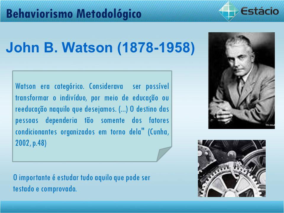 Behaviorismo Metodológico John B. Watson (1878-1958)