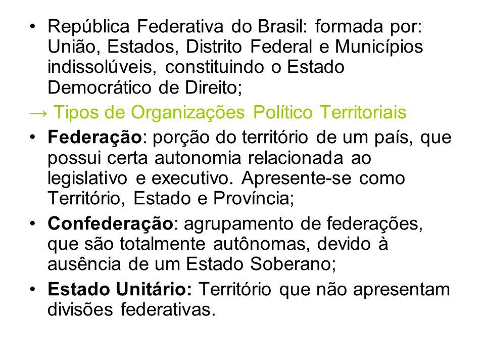 República Federativa do Brasil: formada por: União, Estados, Distrito Federal e Municípios indissolúveis, constituindo o Estado Democrático de Direito;