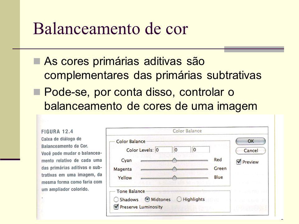 Balanceamento de cor As cores primárias aditivas são complementares das primárias subtrativas.