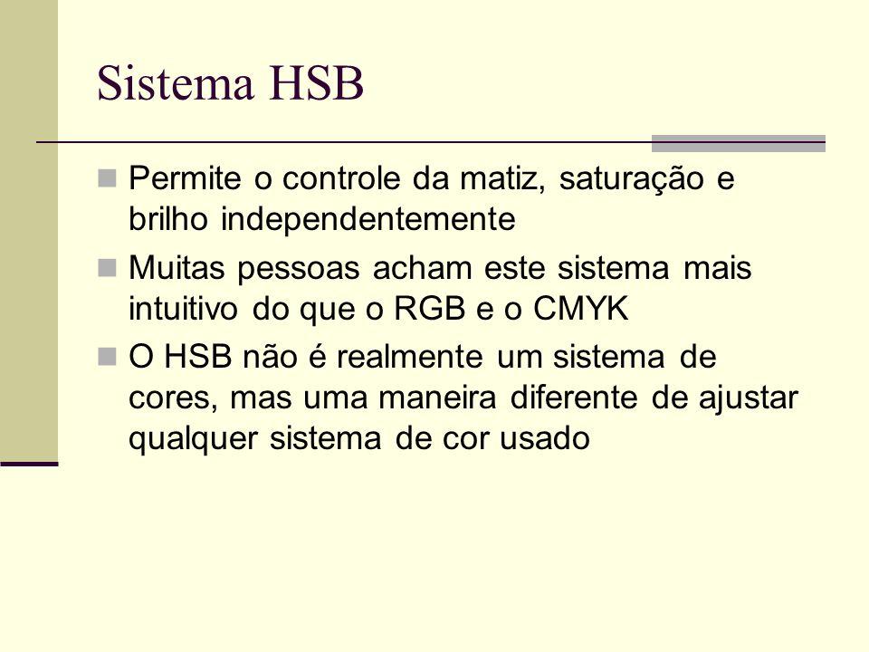 Sistema HSB Permite o controle da matiz, saturação e brilho independentemente.