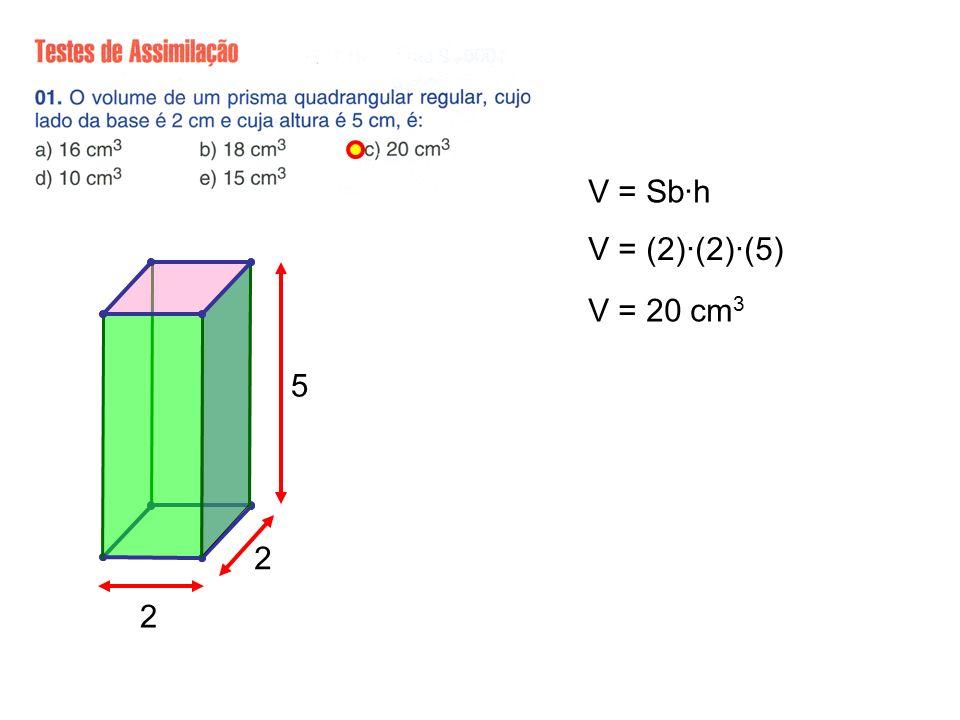 V = Sb·h V = (2)·(2)·(5) V = 20 cm3 5 2 2