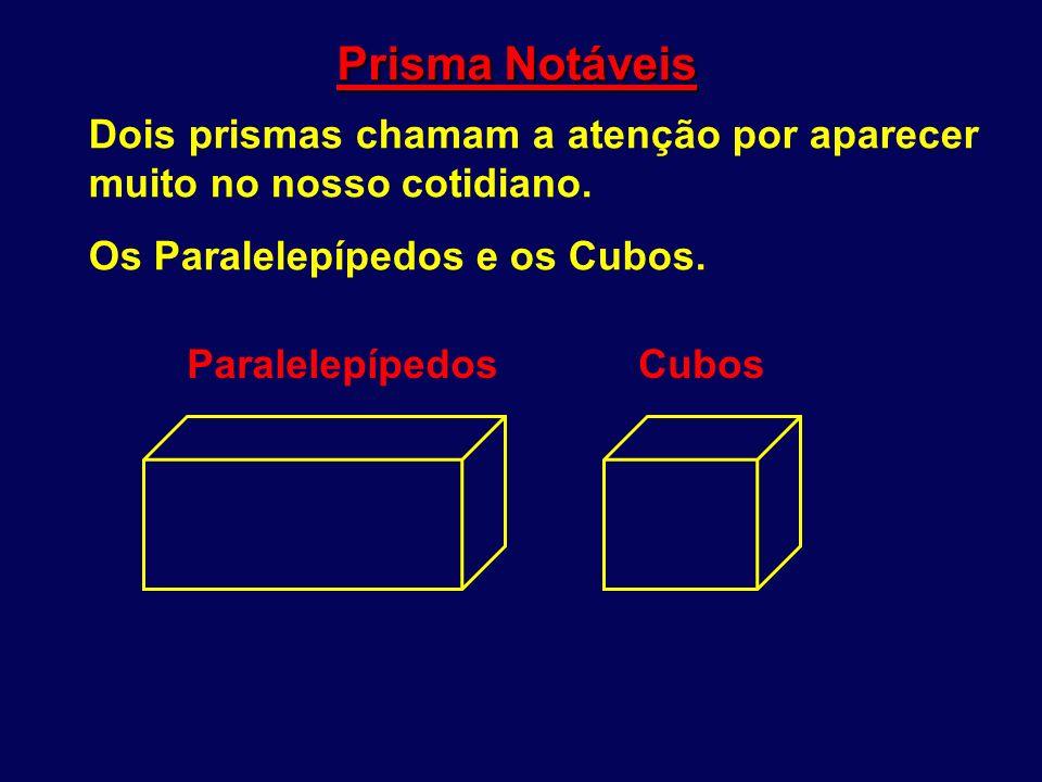 Prisma Notáveis Dois prismas chamam a atenção por aparecer muito no nosso cotidiano. Os Paralelepípedos e os Cubos.