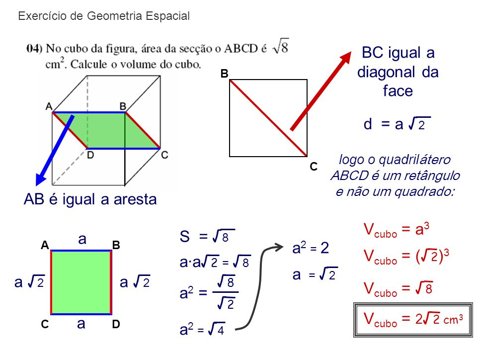 BC igual a diagonal da face
