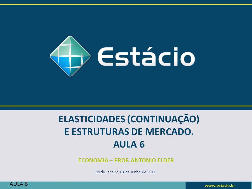 ELASTICIDADES (CONTINUAÇÃO) E ESTRUTURAS DE MERCADO. AULA 6