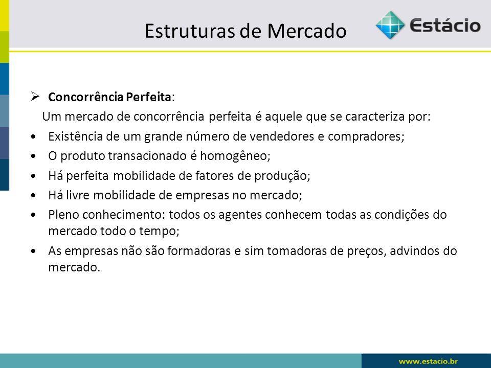 Estruturas de Mercado Concorrência Perfeita: