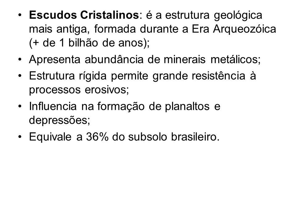 Escudos Cristalinos: é a estrutura geológica mais antiga, formada durante a Era Arqueozóica (+ de 1 bilhão de anos);