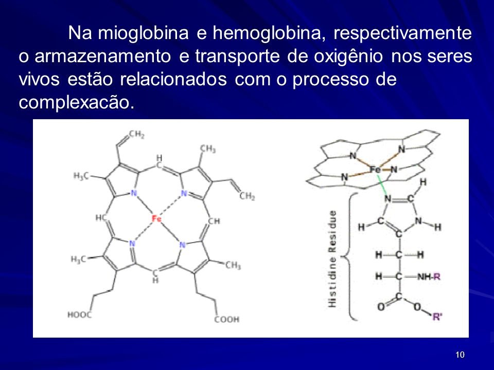Na mioglobina e hemoglobina, respectivamente o armazenamento e transporte de oxigênio nos seres vivos estão relacionados com o processo de complexacão.