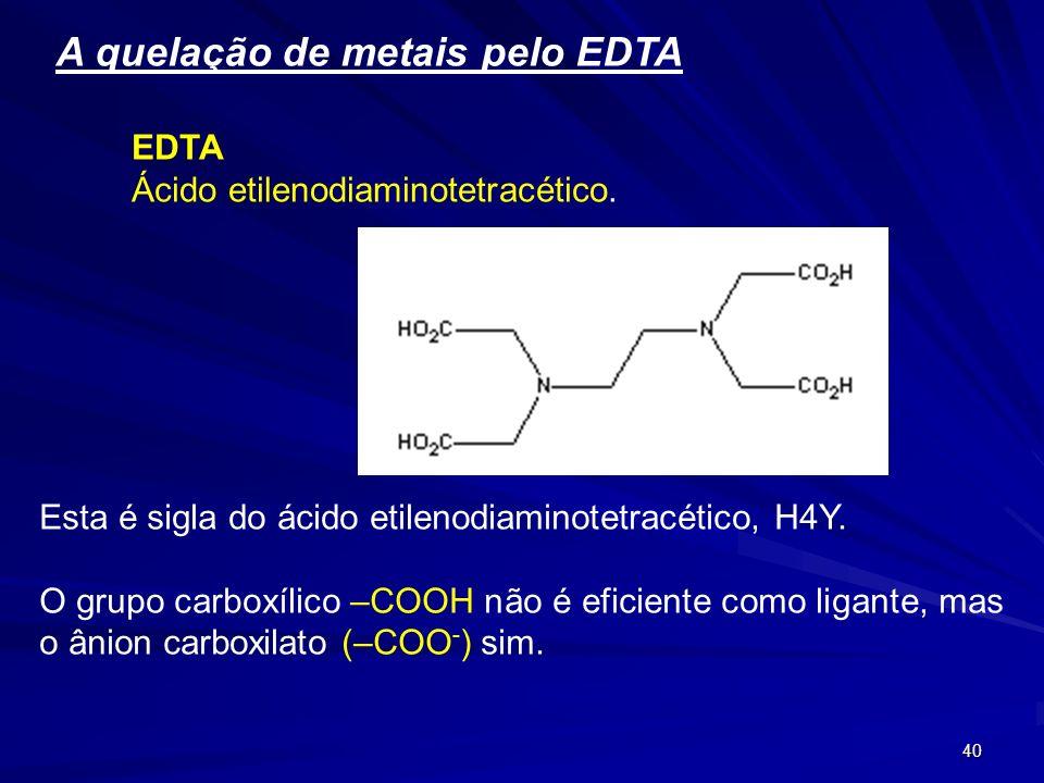 A quelação de metais pelo EDTA