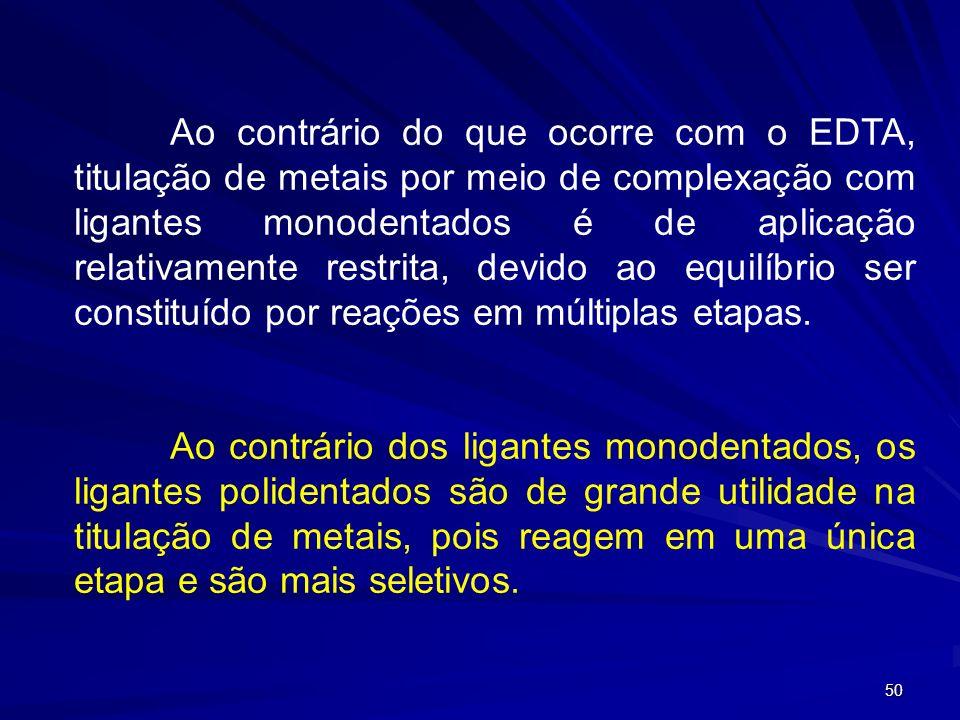 Ao contrário do que ocorre com o EDTA, titulação de metais por meio de complexação com ligantes monodentados é de aplicação relativamente restrita, devido ao equilíbrio ser constituído por reações em múltiplas etapas.