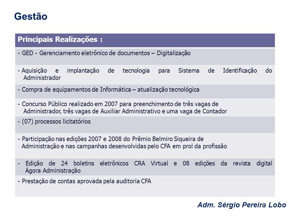 Gestão Principais Realizações : Adm. Sérgio Pereira Lobo
