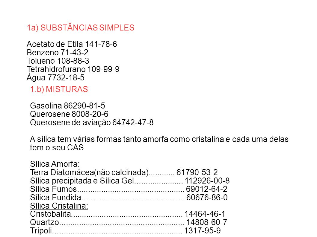 1a) SUBSTÂNCIAS SIMPLES
