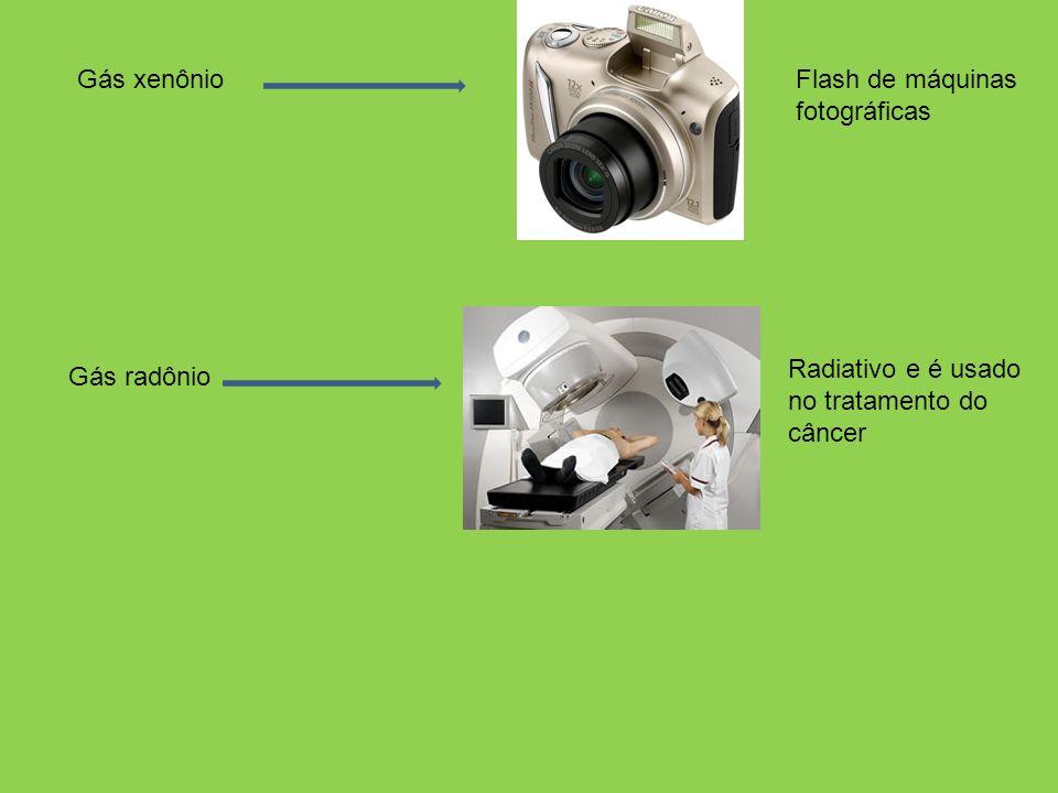 Gás xenônio Flash de máquinas fotográficas Radiativo e é usado no tratamento do câncer Gás radônio