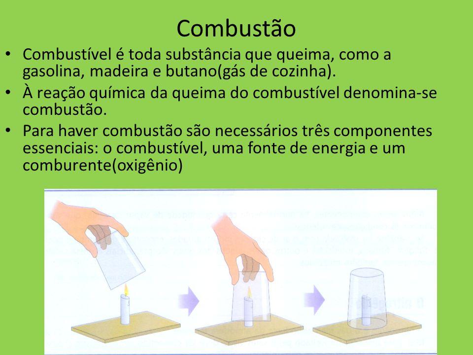 Combustão Combustível é toda substância que queima, como a gasolina, madeira e butano(gás de cozinha).