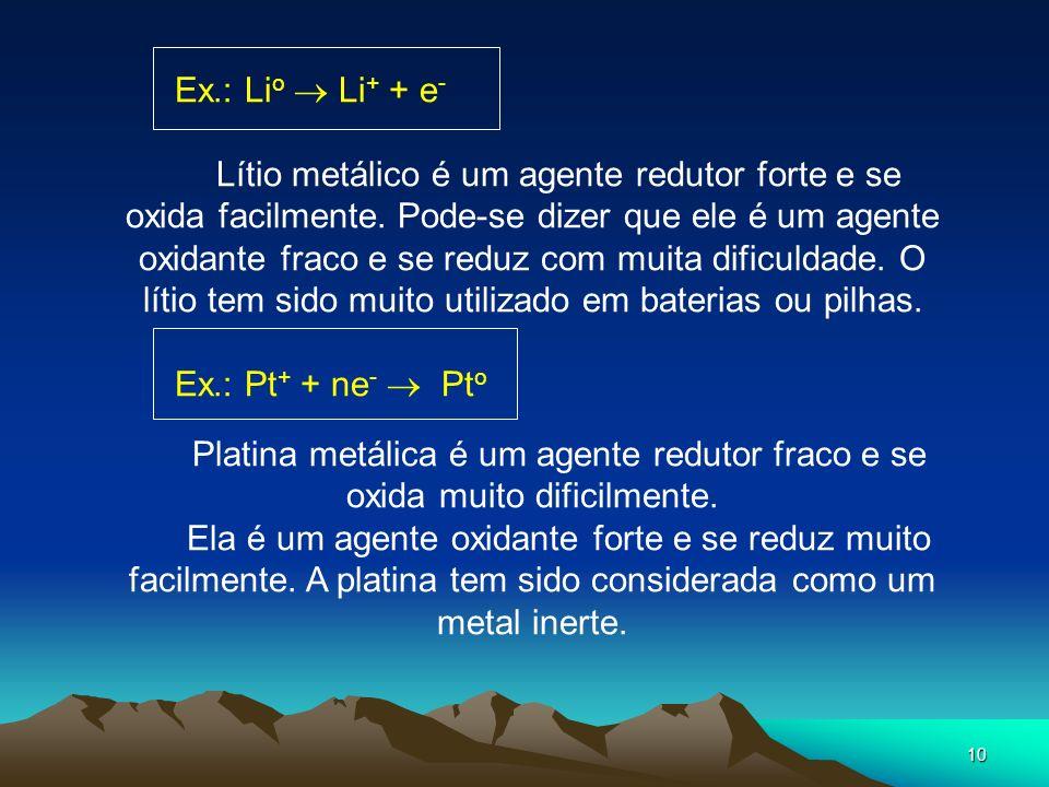 Ex.: Lio  Li+ + e-